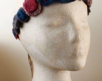 UpCycled Headband Felted Vintage Wool Earthy Dark Blue Red Brown