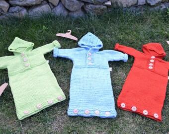 Colourful newborn baby bunting bags from merino wool
