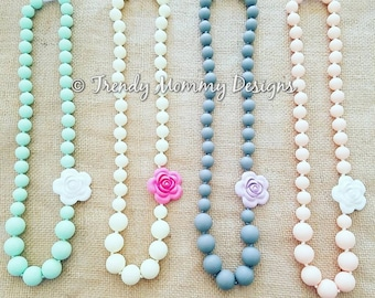 Beautiful Silicone Rose Teething / Nursing Necklace for Mommy! Cream with Pink Flower, BPA free food-grade silicone. Great Baby Shower Gift!