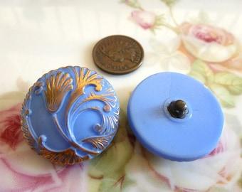 1 Vintage Robins Egg Blue German Nouveau Flower Glass Button C44