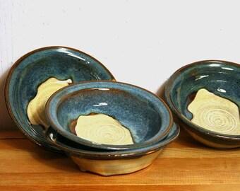 Salt-Rim Ceramic Bowls Wheel Thrown White Stoneware