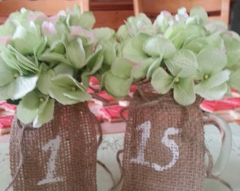 Burlap Table numbers. 1-15  made by a stay at home veteran