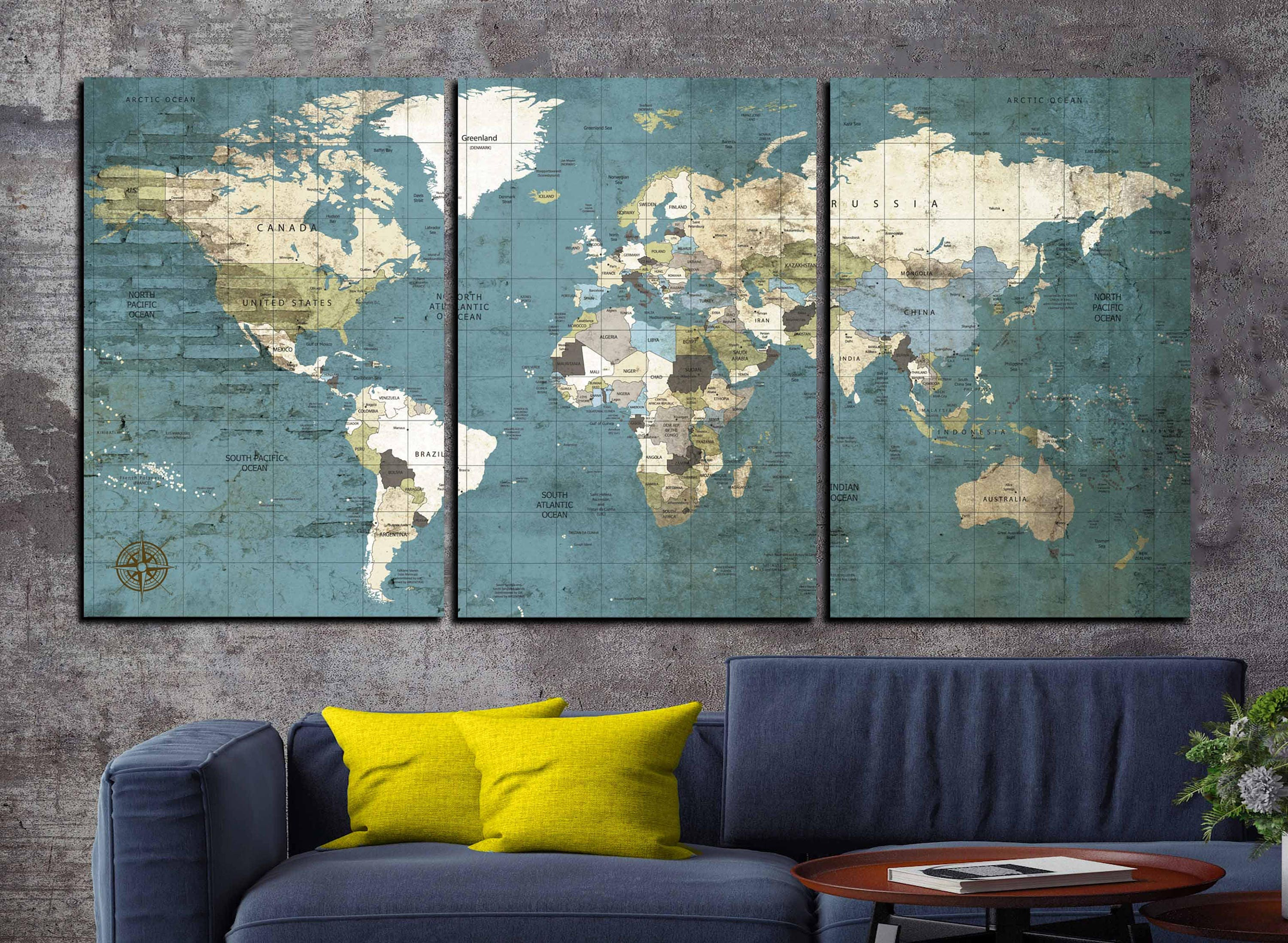 Large world map vintage canvas printworld map wall artworld map gallery photo gallery photo gallery photo gallery photo gumiabroncs Images