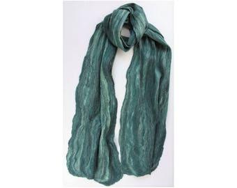 Merino / Silk Cobweb Felted Scarf - Evergreen
