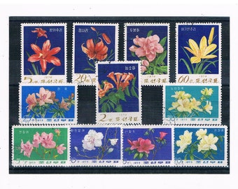 Floral Stamps, 1970s Vintage Korea Postage Stamps | used stamps flower selection stock card | card toppers collage upcycle collect decoupage