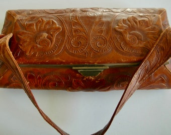 "Vintage Mexican Tooled Leather Handbag - ""Shapely and Tooled"" - SALE"