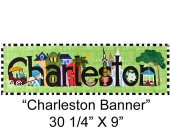 """Original Textile Collage- """"Charleston Banner"""" - unframed, shipped in a tube."""