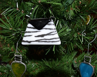 Zebra Purse Christmas Ornament, Fused Glass