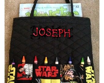 Star Wars or Superhero Personalized Coloring Tote