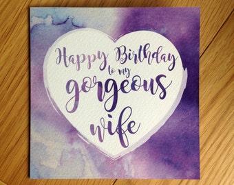 Purple Watercolour Wash Wife Birthday Card + envelope
