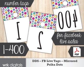 Dot Dot Smile Facebook Live Numbers, Mirrored Image 1-400, Fashion Consultant, Polka Dots Design, Direct Sales, INSTANT DOWNLOAD