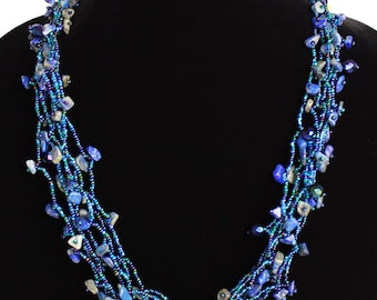 Hand beaded blue multistrand necklace, magnetic clasp, 24 inches #108