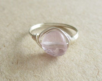 Fluorite gemstone smooth nugget bead wire wrapped ring - size 6