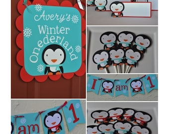 Winter Onderland, complete party package, banner, cupcake toppers, food signs, door sign and centerpieces