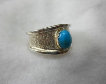Men's Ring Sleeping Beauty Turquoise Set In Sterling Silver
