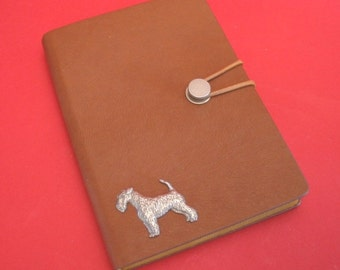 Airedale Terrier Hand Cast Pewter Motif on A6 Tan Note Book Father Mother Airedale Terrier Gift