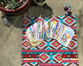Teal Tribal Arrows and Trees Outer with Native American inspired inner- Tarot Deck travel Pocket Mat- Tarot Pouch