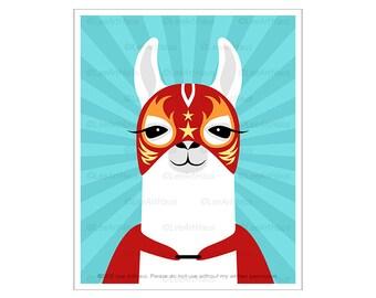 75J - Wrestler Print - Llama Luchador Wrestler Wall Art - Mexican Wrestling Print - Funny Art for Boys Room - Llama Decor - Llama Nursery