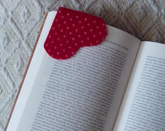 heart shaped bookmark with white dots