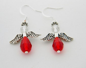 CHRISTMAS JEWELRY  CH004  Red Angel Earrings