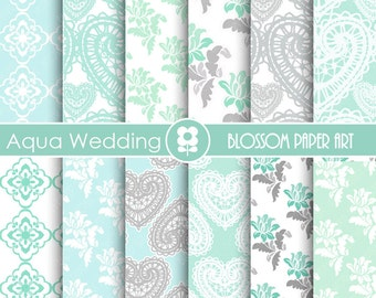 Aqua Digital Paper, Wedding Digital Paper Pack, Digital Paper Pack, digital backgrounds, Cottage Papers, Damask Wedding Papers -1672