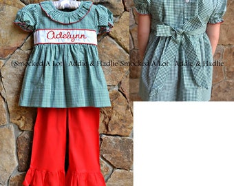 Girls ruffled pants set monogrammed Christmas Red green gingham dress Outfit santa tree smocked