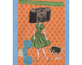 Camera Head Girl with Beetle  // Collage Art Print
