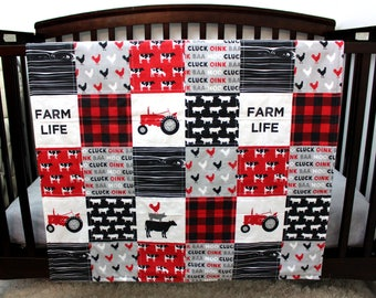 Farm Life Tractor Baby Quilt, Gender Neutral Red Black Baby Quilt