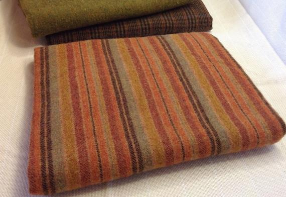 Pumpkin Orange Stripe,  Wool Fabric for Rug Hooking and Appliqué, One yard, Half Yard, Quarter Yard, W153