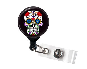 Grand Sugar Skull badge reel, ID Badge holder, retractable badge reel, Day of the Dead, Halloween