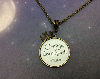 Courage dear heart Quote Charm Necklace,Bronze, C S Lewis, Chronicles of Narnia, The Voyage of the Dawn Treader, Literary Gift, Lucy, Aslan,