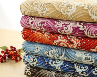 A Fat Quarter- Japanese Cotton Fabric Yellow Blue Black Rosy Red Kimono Cotton With Gilding Waves