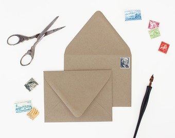 Envelopes - A2 Size - Set of 25 - Kraft Brown Color - Deep V Euro Flap