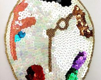 """Painter Palette Clock Applique, Sequin Beaded, 6.5"""" x 5.5""""  -B307"""
