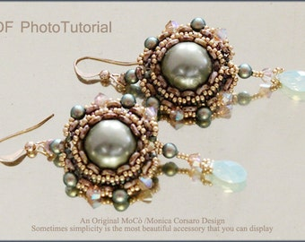 DIY Photo Tutorial Eng-ITA ,*Akoyana* earrings ,PDF Pattern 80 with pearl, swarovski,o-beads and seed beads,instructions,bead weaving