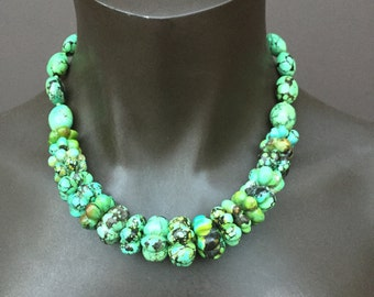 Green Carved Genuine Turquoise Necklace/Cloud Mountain/19 inches