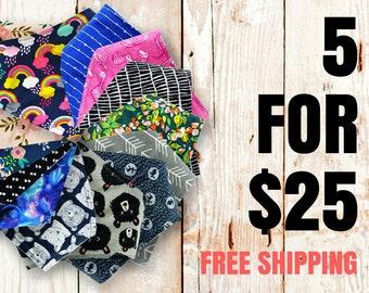 Baby Bandana Bibs - Pick 5 - FREE SHIPPING (choose from 200+ fabrics), bibdanna, bibdana, bandana bib, baby bib, baby shower gift, baby gift