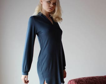womens bamboo tunic with long bishop sleeves - NOUVEAU bamboo sleepwear range - made to order