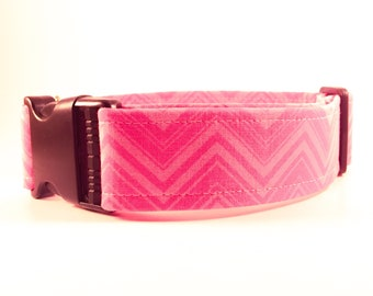 Pink Chevron Dog Collar - Buckle or Martingale