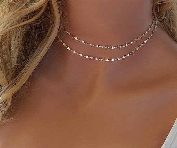 Sequin Golden Chain Choker Necklace mgwpMNOuu