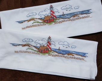 Pillow Slips - Hand Embroidered - Light House