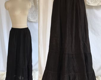 Antique 1800's  Petticoat Skirt | Black Cotton & Eyelet Lace with Satin Waist | Victorian Lingerie | As Is | Size SM