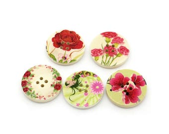 Summer Flowers wood sewing buttons - 5 Mixed Patterns craft buttons
