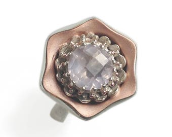 """Unique Silver and Rose Gold Statement ring with checkerboard Rose Quartz and Vermeil detail. Contemporary """"Chic"""" cocktail ring. Fine Jewelry"""