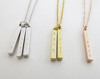 Name Bar Necklace Dainty Necklace Personalized Rose Gold Gift for Wife Custom Silver Necklace Layered Necklace Gift for Women