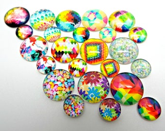 Rainbow Cabochons, 16mm or 10mm, Pack of 12 or 30, Glass Cabochons, Rainbow Jewelry, 12 Designs, Domed Cabs, Cabochon Jewelry, UK Seller