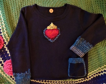 Sacred Heart-One of a Kind-Upcycled Sweater-Cotton-size M/L