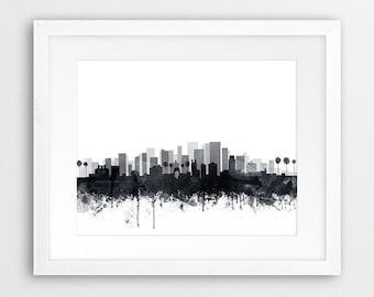 Los Angeles Print, Los Angeles City Skyline Wall Art, California Cityscape, Grey Black White Watercolor, Home Decor, Modern Printable Art