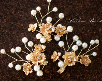 Clearance-Bridal hair piece. Wedding set of  2 clip. Gold flower Hair vines clip Pearl hair pins. Wedding accessories Gold small flower pins