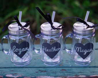 Personalized Tumblers with Heart - 18 oz Mason Jar, Set of 4 Bridesmaid Tumblers, Bachelorette, Bridal Party Tumbler, Bridesmaid Gift